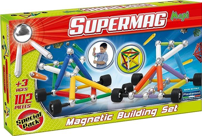 Plastwood - Supermag Maxi Ruedas, Construcción del Juego magnético, 102 Piezas
