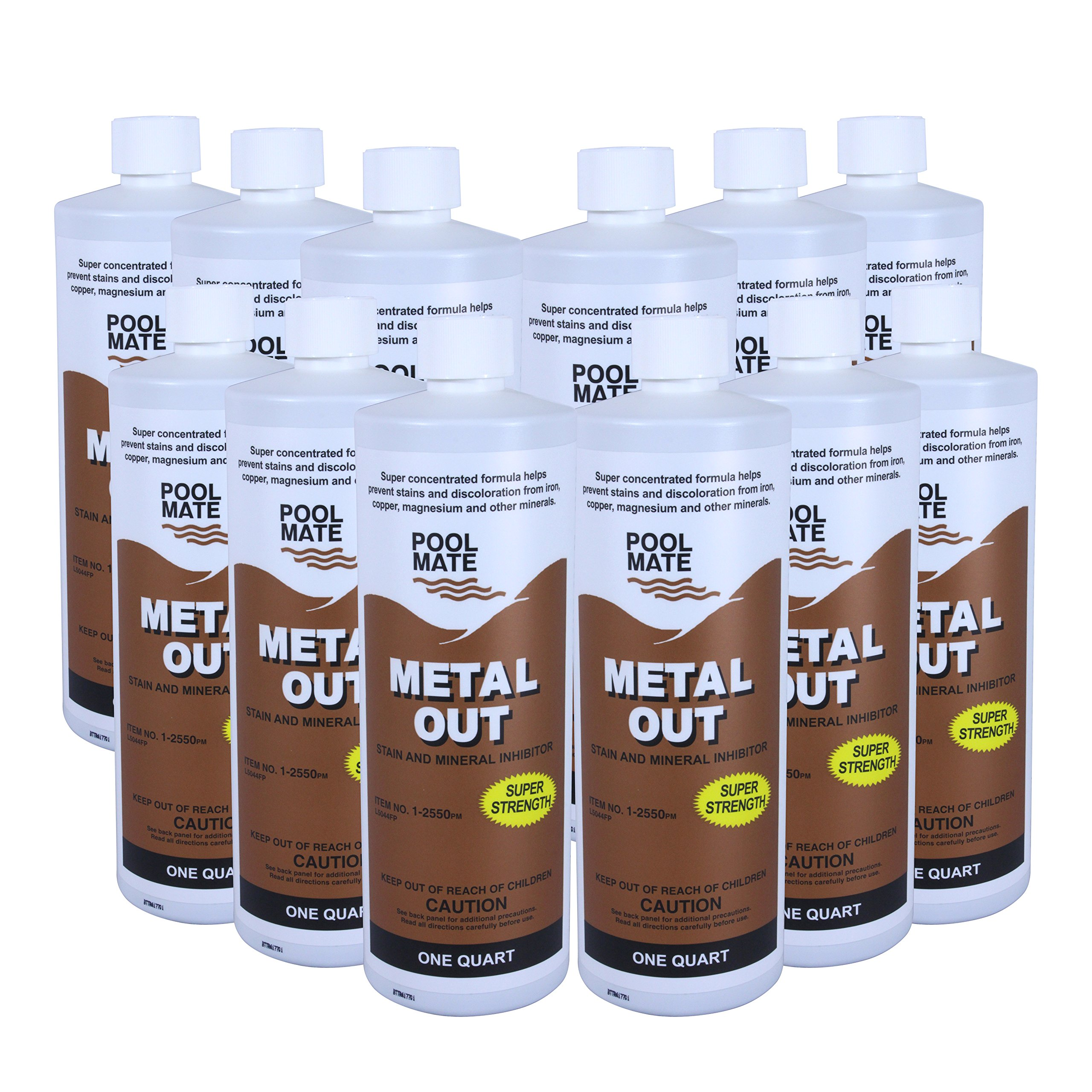 Pool Mate 1-2550-12 Mineral Out and Stain Remover for Swimming Pools (12 Pack), 1 Quart by Pool Mate