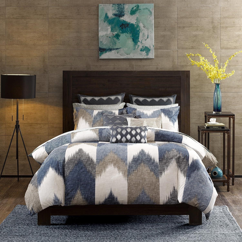 INK+IVY Alpine Cotton Comforter Set-Modern Cabin Lodge Chevron Design All Season Down Alternative Cozy Bedding with Matching Shams, King/Cal King, Navy 3 Piece