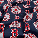 Fabric Traditions Navy MLB Cotton Broadcloth Boston Red Sox Fabric by The Yard