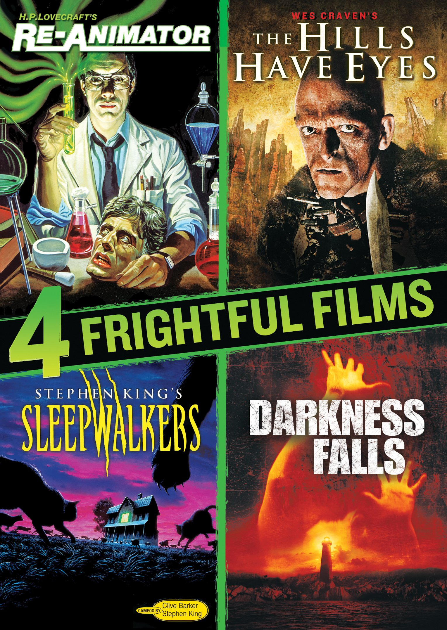 4 Frightful Films Collection (Re-animator / Hills Have Eyes / Darkness Falls / Sleepwalkers)