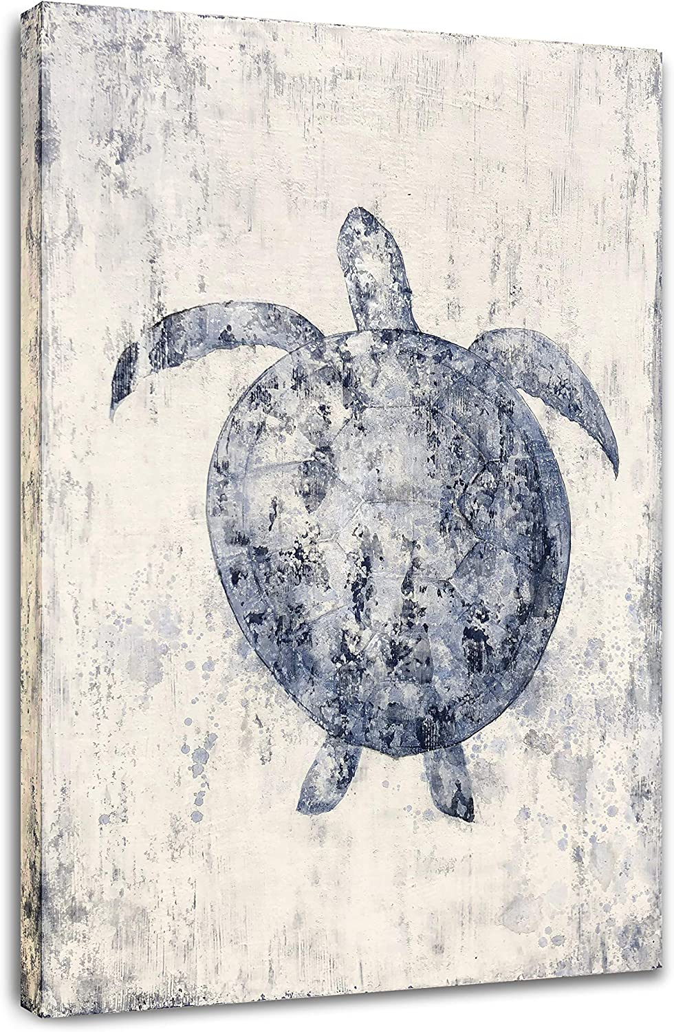 Yihui Arts Large Blue Sea Turtle Gifts Modern Abstract Canvas Art Ocean Animal Posters Pictures Nautical Wall Decor For Bathroom Decoration