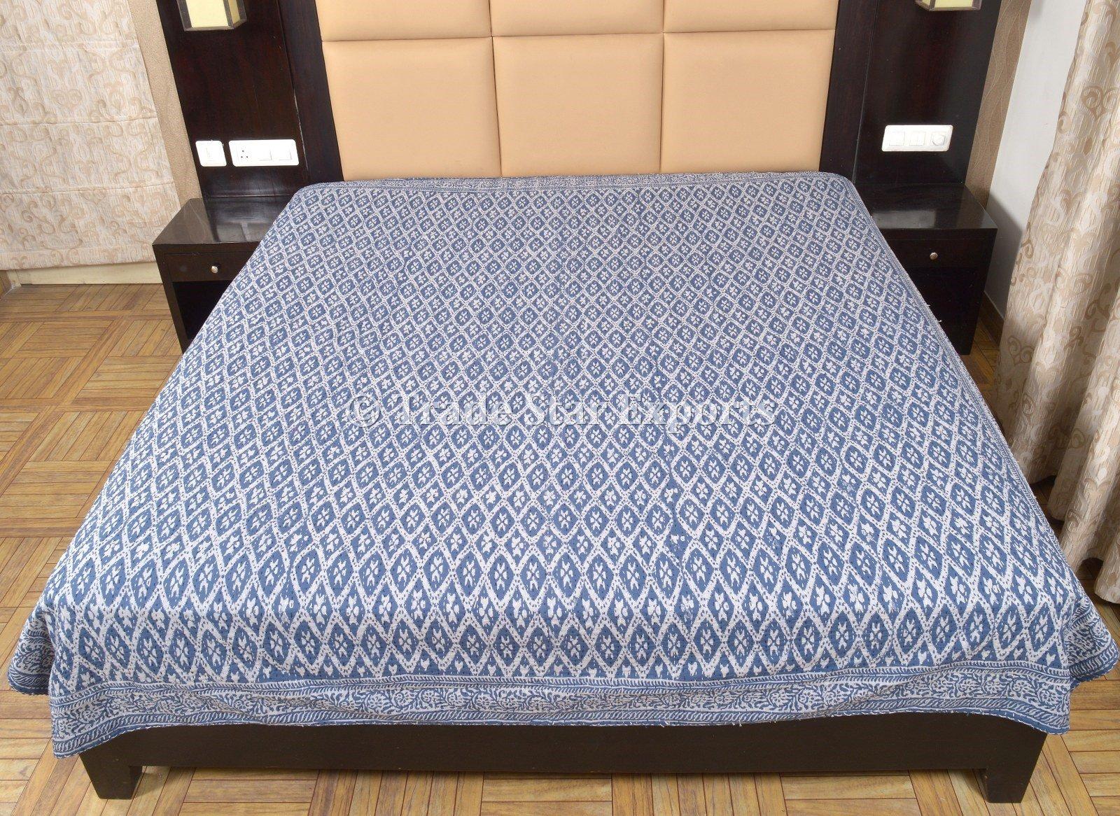 Block Print Fabric Kantha Throw, Indian Quilts Queen Size, Indigo Ikat Bedding, Boho Kantha Blanket, Handmade Quilted Bedspread