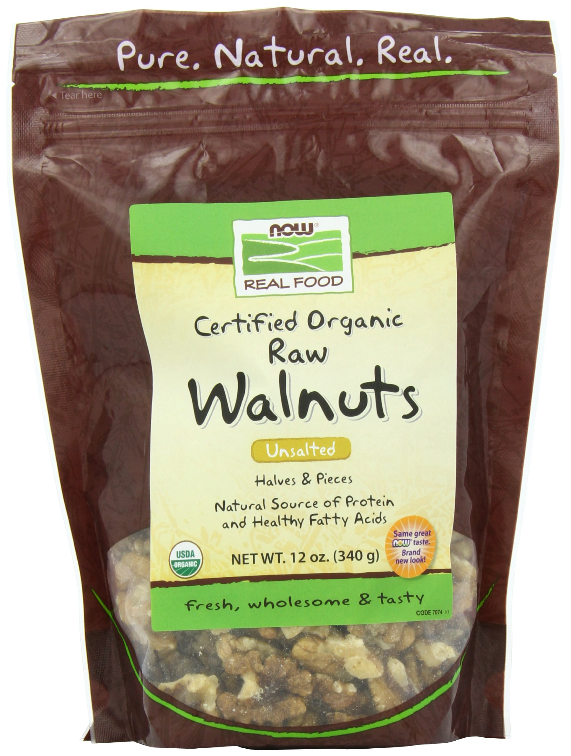 NOW Foods Walnuts Raw Organic, 12-Ounce