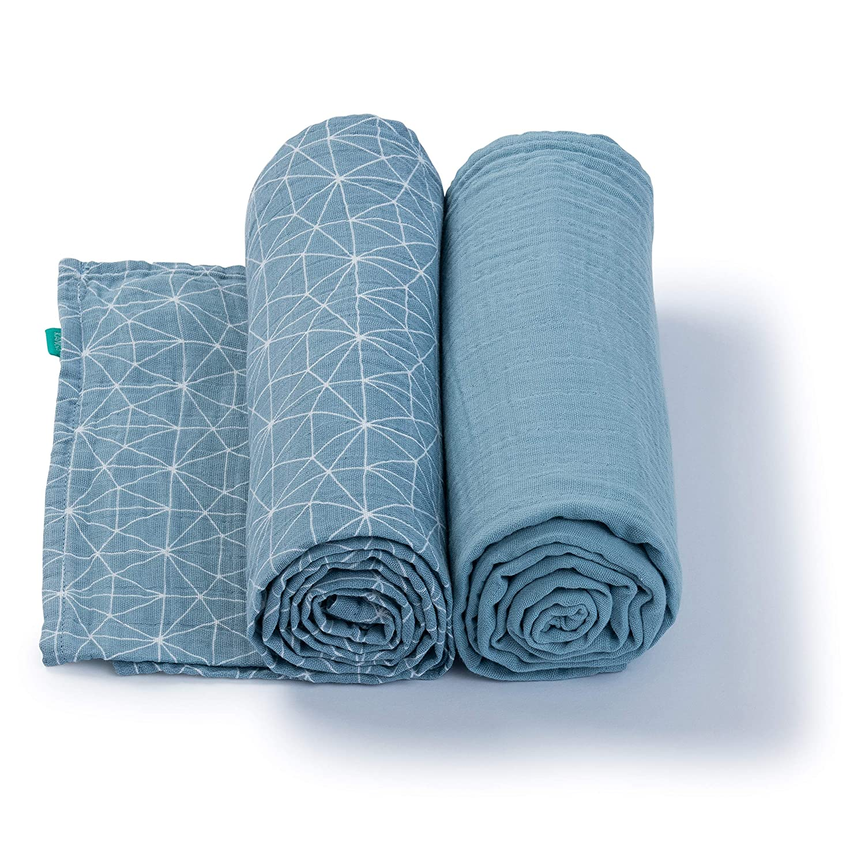 Azul Gasas de Algod/ón Urban Kanga Pa/ños de Muselinas Beb/és de Algod/ón 120 X 120 cm Mantas de Muselina Pack de 2