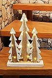 Kamaca LED Baum - Lichter, 15 er LED Lichterbaum mit Schnee - Holz, Hand gesägt, warm Weisse Lichterkette, der perfekte Weihnachtsbaum für Schreibtisch, Tisch, Fenster, Schrank, Treppe, Haustür