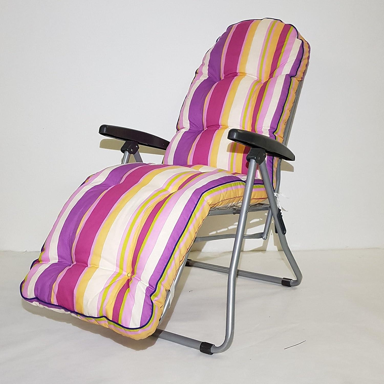 TECNOWEB Ricambio cuscino arrotondato per sdraio con poggiapiedi super imbottita col.multiriga rosa lilla fucsia TECNO CUCI