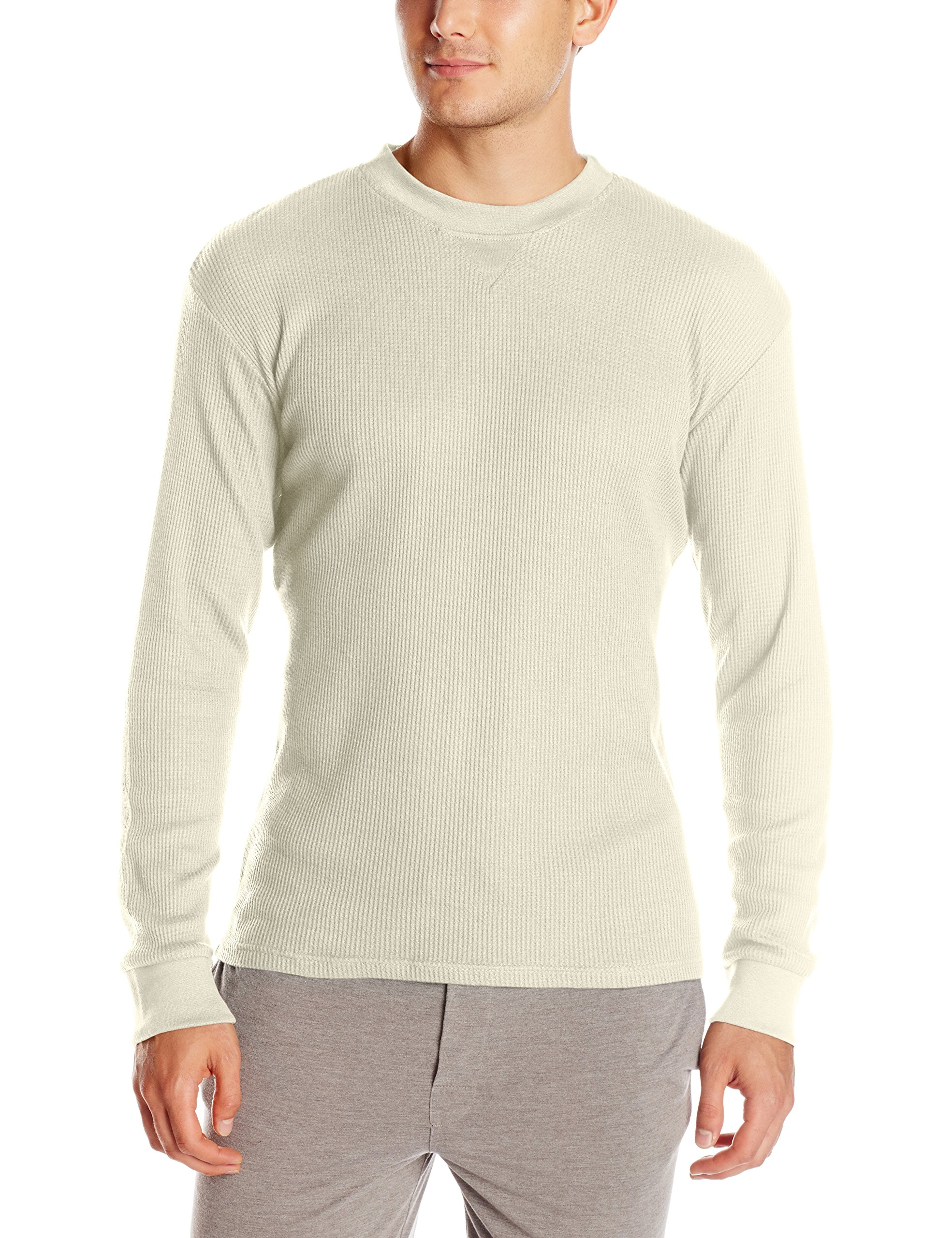 Essentials by Seven Apparel Men's Thermal Crew Neck Shirt, Cream, Large