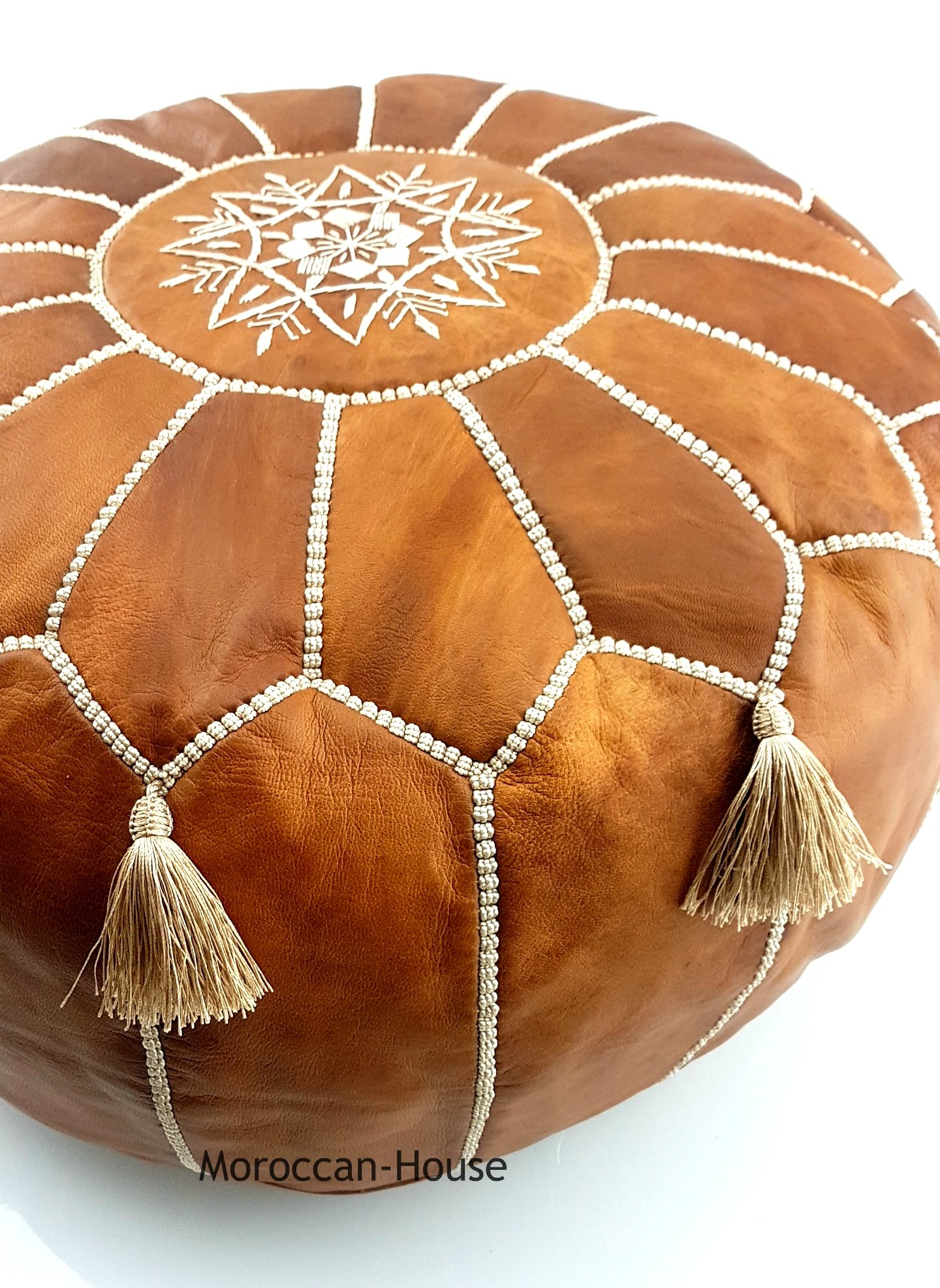 LIMITED EDITION Moroccan Leather Pouf Best offer ,100% handmade Ready to magic your living room! by Moroccan-House (Image #3)