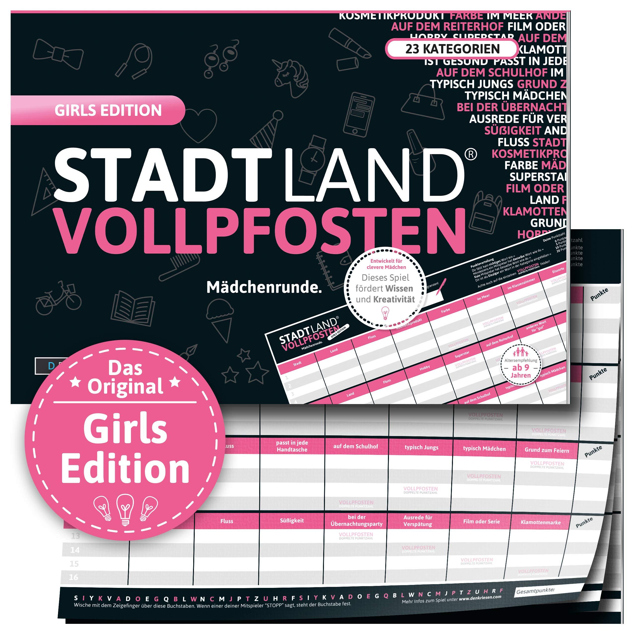 DENKRIESEN - Stadt Land VOLLPFOSTEN® - Girls Edition - Stadt Land FLUSS FÜR MÄDCHEN - Spiel FÜR MÄDCHEN - Geschenk FÜR MÄDCHEN Bild