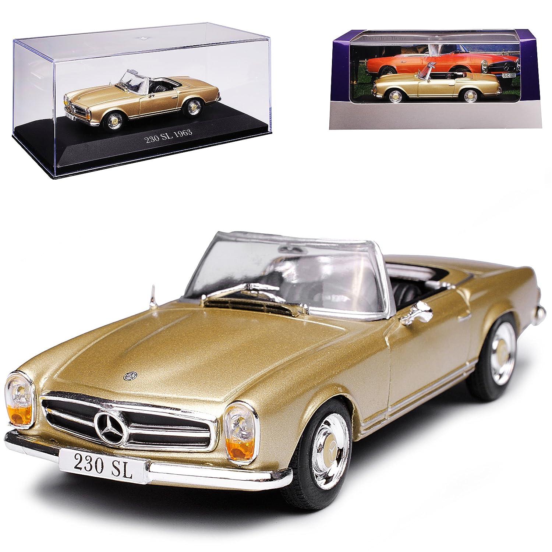 Atlas Mercedes-Benz 230SL W113 Pagode Roadster Gold Beige 1963-1971 1//43 Modell Auto mit individiuellem Wunschkennzeichen