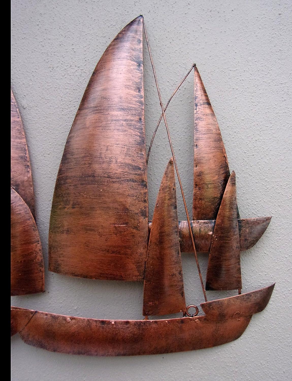Hand Made Copper Ships Metal Wall Art Unusual Copper Sailing Ships Wall Art