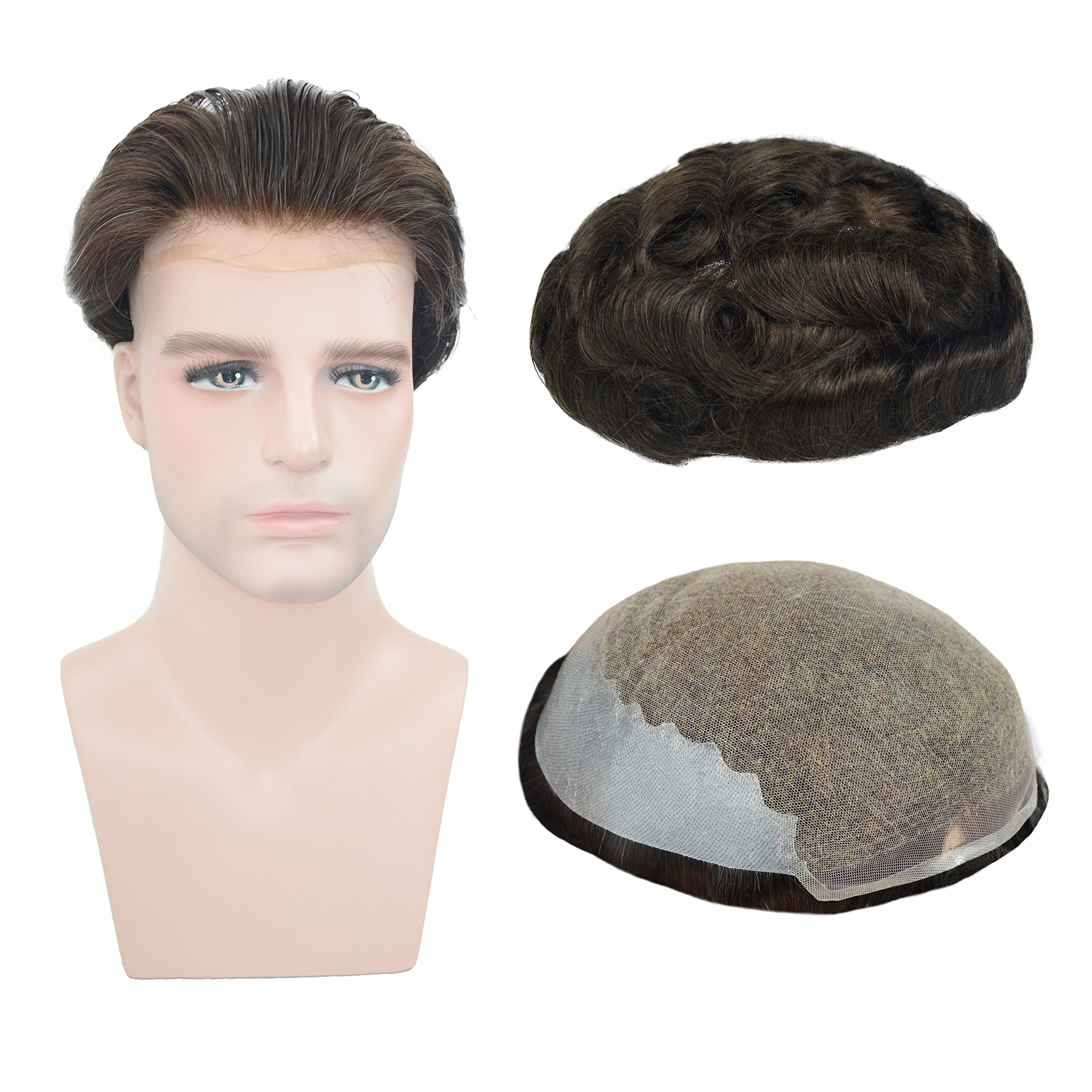 European Virgin Human Hair Toupee For Men, Veer 8x10inch Soft French Lace Cap Base with 2inch Clearly PU in Back Men's Hairpiece Replacement System Natural Wave Dark Brown Color(#2) by Veer