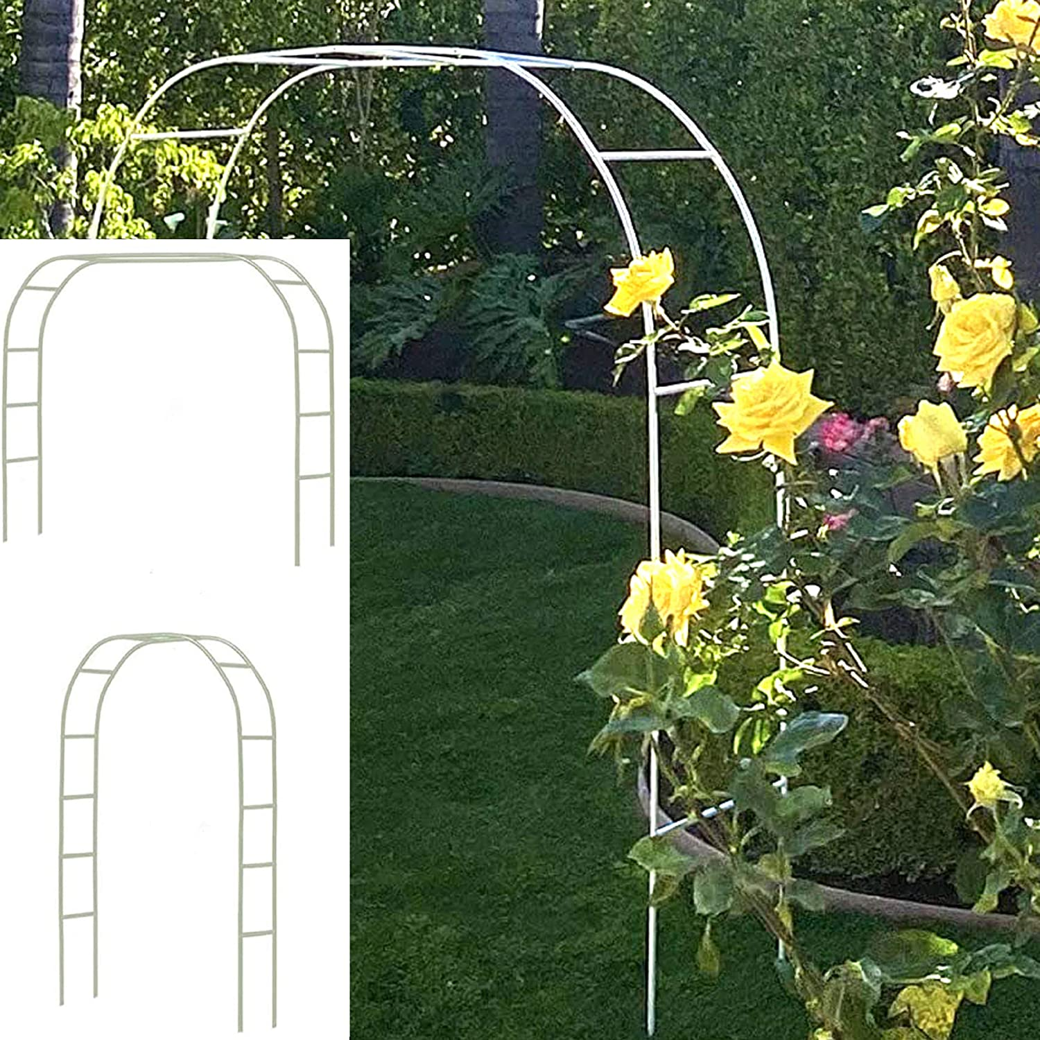 Tytroy White Metal Garden Arch (Climbing Plants) Outdoor Indoor Arch Wedding Party Bridal Party Decoration (White 1pc)