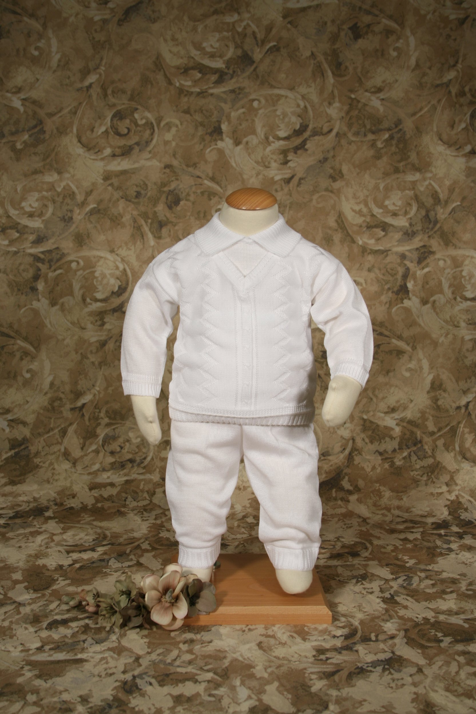 Boys 100% Cotton Knit Two Piece White Christening Baptism Outfit, 03 Month by Little Things Mean A Lot (Image #4)