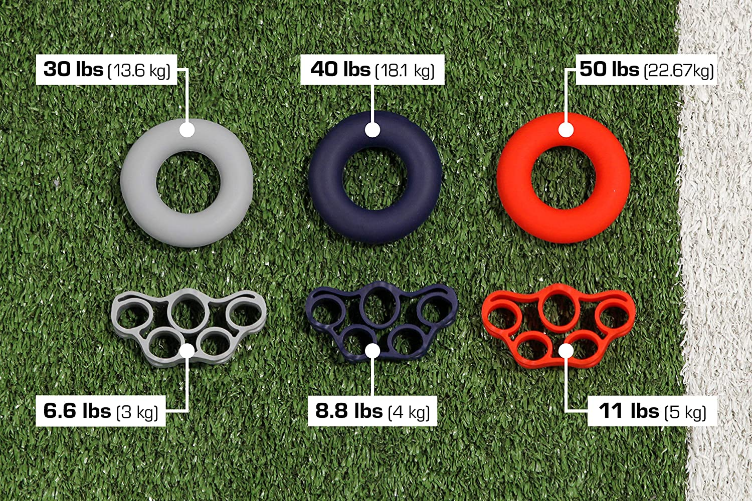 ST 527401 Finger Exercisers Hand Grip Rings, Fidget Stress Relief, Navy/Grey/Red, 6 Pack: Clothing
