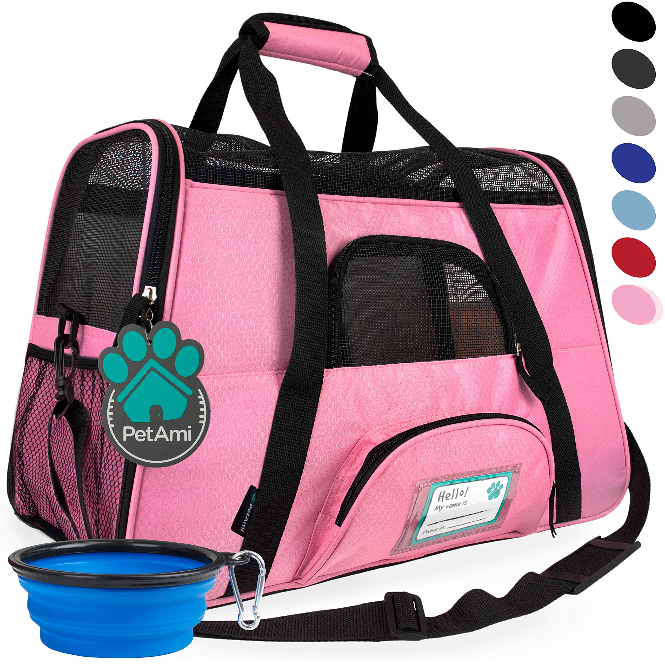 PetAmi Premium Airline Approved Soft-Sided Pet Travel Carrier | Ideal for Small - Medium Sized Cats, Dogs, and Pets | Ventilated, Comfortable Design with Safety Features (Large, Pink) by PetAmi