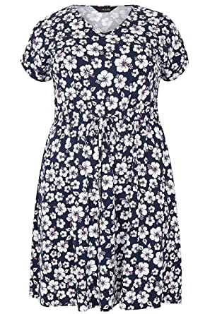 14ff083c445 Yours Women s Plus Size Floral Print T-Shirt Dress with Pockets    Elasticated Waistba Size