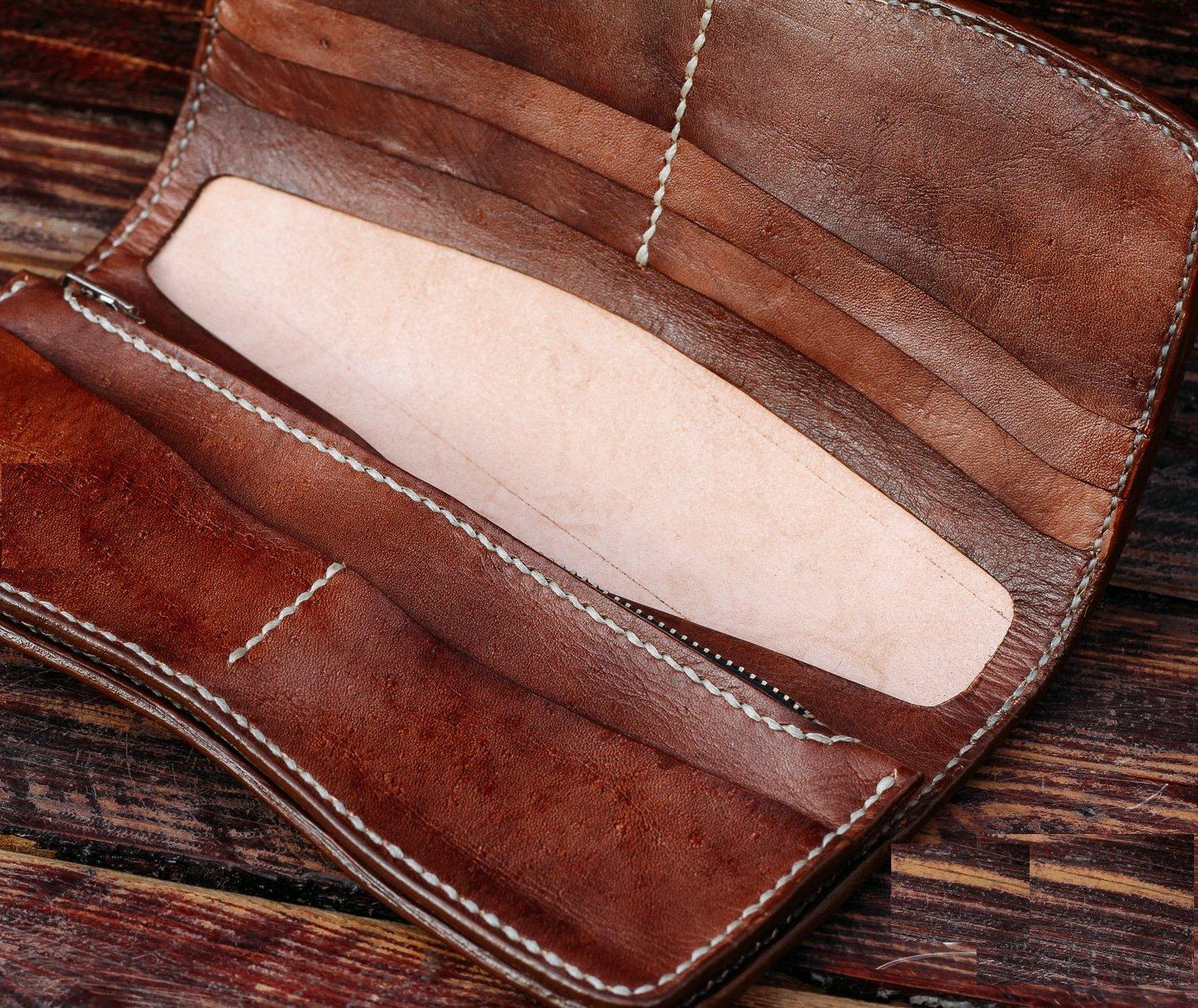 Long Viking wallet, Leather Wallet, 3D Genuine Leather Wallet, Hand Carved, Leather Carving, Carving Wallet