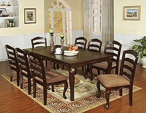 Furniture of America Kathryn Classic Style Dining Table with 18-Inch Leaf, Dark Walnut Finish