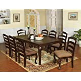 """Furniture of America Kathryn 9-Piece Classic Style Dining Table Set with 18"""" Expandable Leaf, Dark Walnut"""