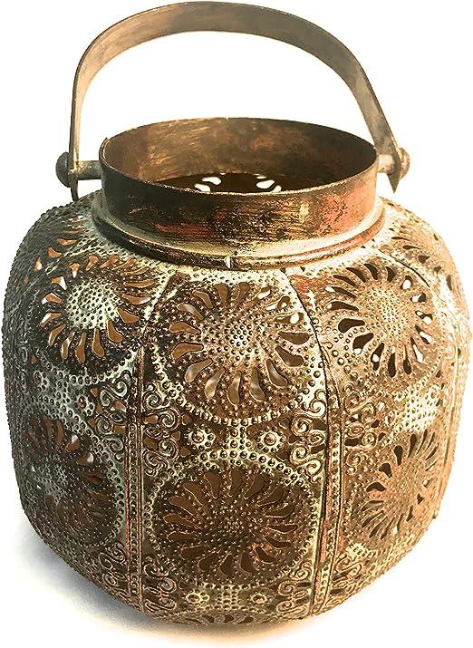 joe davis Hermosos portavelas marroquíes y faroles decoración del hogar o Decoraciones para Fiestas de jardín o Bodas, marrón, Medium Lantern: Amazon.es: Hogar