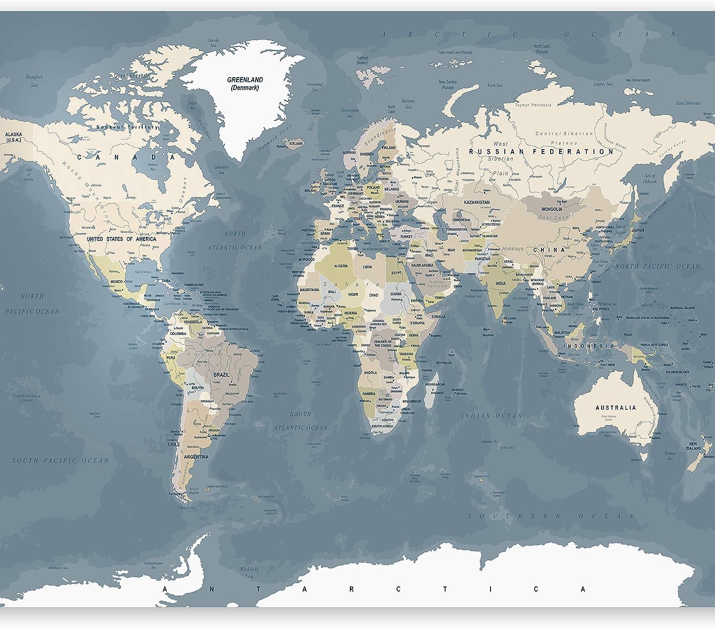 murando Papier peint intiss/é Carte du monde 250x175 cm D/écoration Murale XXL Poster Tableaux Muraux Tapisserie Photo Trompe loeil Voyage G/éographie k-A-0422-a-a