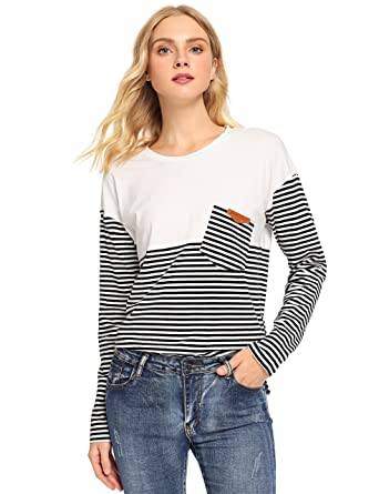 b1bff1fd0cc86d SweatyRocks Women's Casual Long Sleeve Striped Print Pullover Tee Shirt Top  White Grey Small