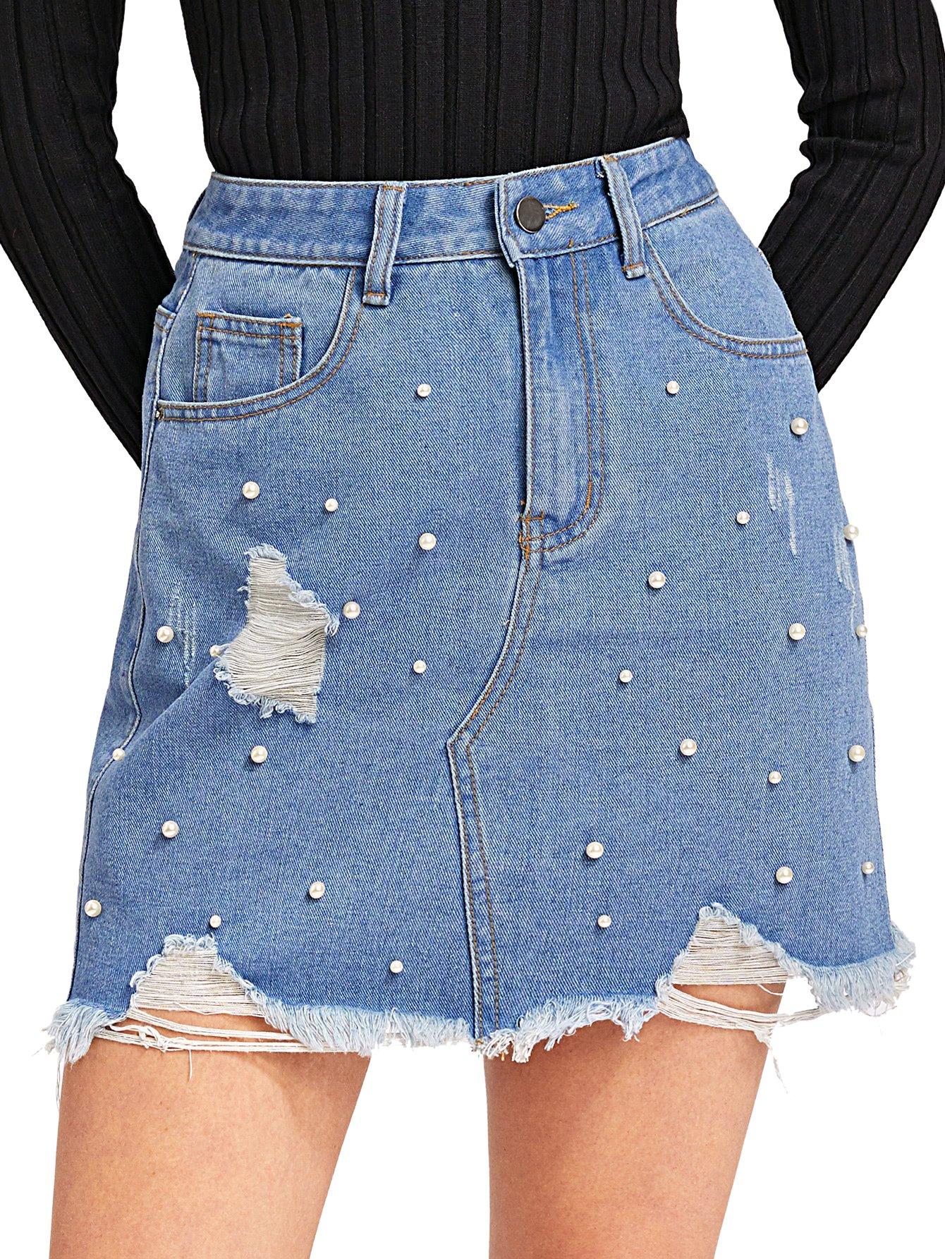 Verdusa Women's Casual Distressed Fray Hem A-Line Denim Short Skirt Blue-2 S