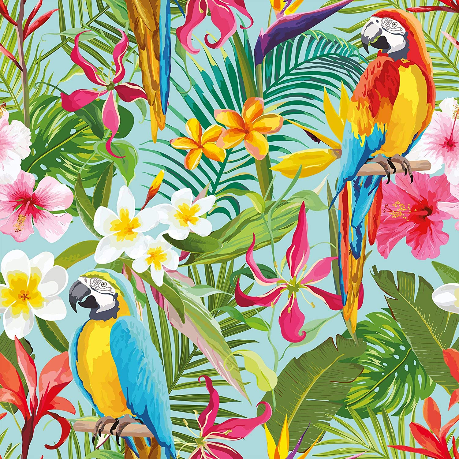 Wallsbyme Peel And Stick Green And Blue Tropical Floral Fabric