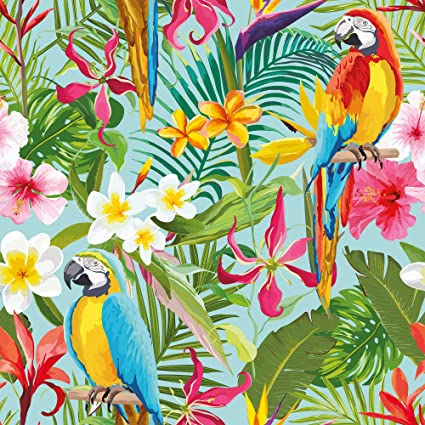 Wallsbyme Peel And Stick Green And Blue Tropical Floral Fabric Removable Wallpaper 2550 2ft X 8 5ft 61x260cm