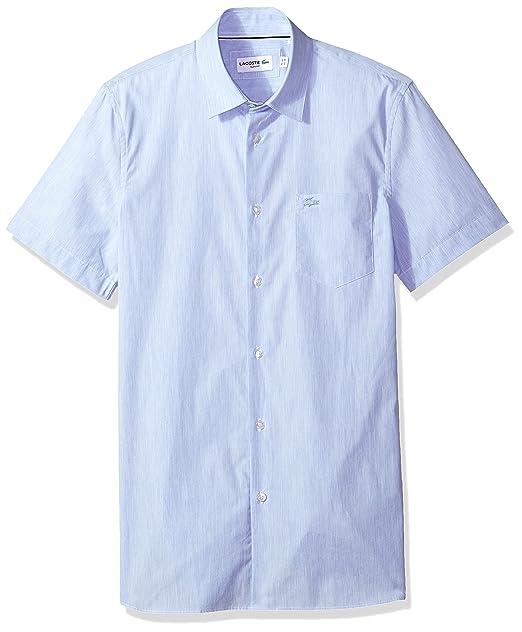 146a98db4e760 Lacoste Ch4997 - Camisa de Manga Corta para Hombre, finamente Rayada, Color  Azul y