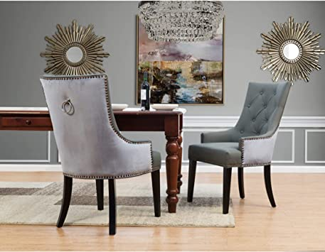 Amazon Com Chic Home Gilbert Pu Leather And Velvet Dining Chair Set Of 2 Chairs