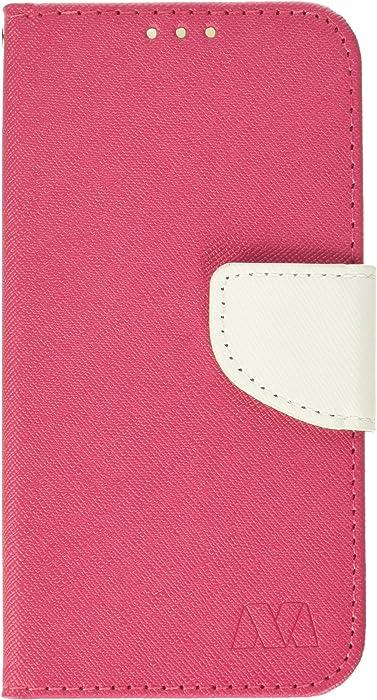 MyBat Wallet Case for Acer Liquid M330 - Hot Pink Pattern/White Liner
