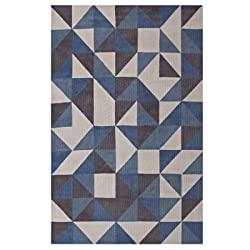 Modway R-1014B-810 Kahula Geometric Triangle Mosaic Area Rug, 8X10, Blue, White and Gray