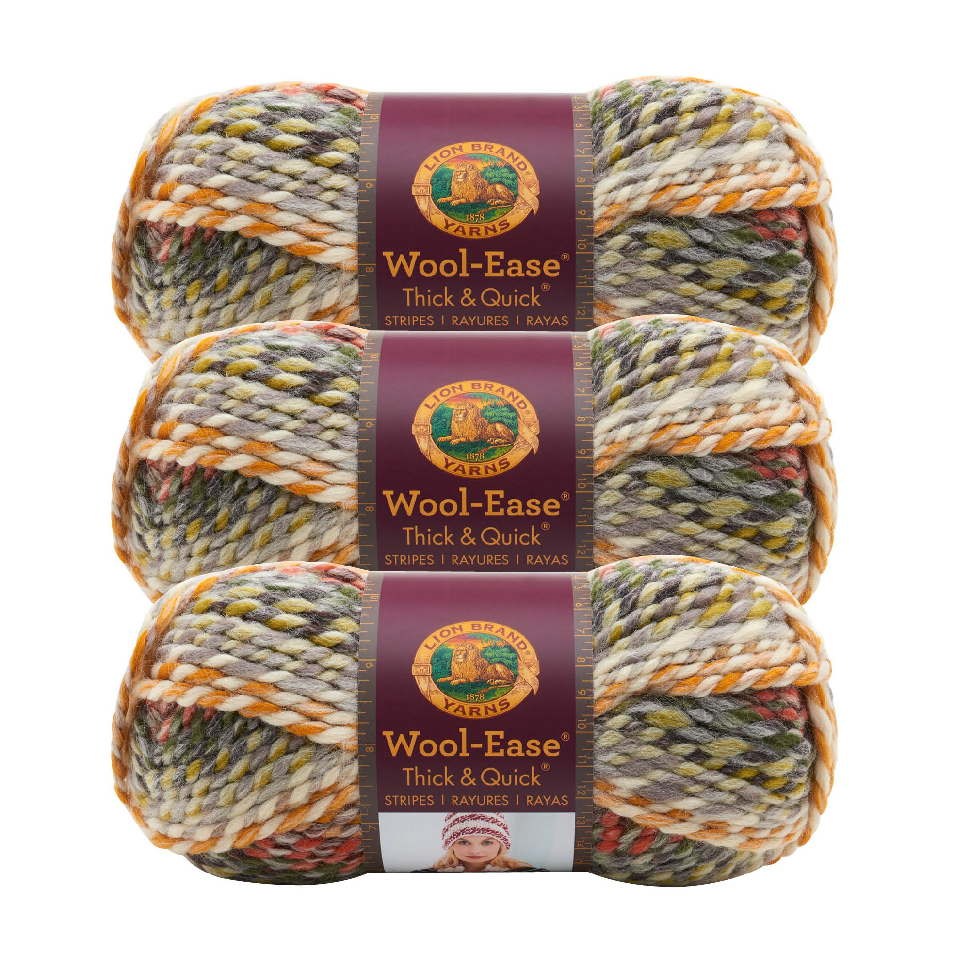 (3 Pack) Lion Brand Yarn 640-612 Wool-Ease Thick and Quick, Coney Island