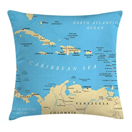 Ambesonne Wanderlust Throw Pillow Cushion Cover, Caribbean Political Map  Capitals National Borders Important River Image, Decorative Square Accent  ...