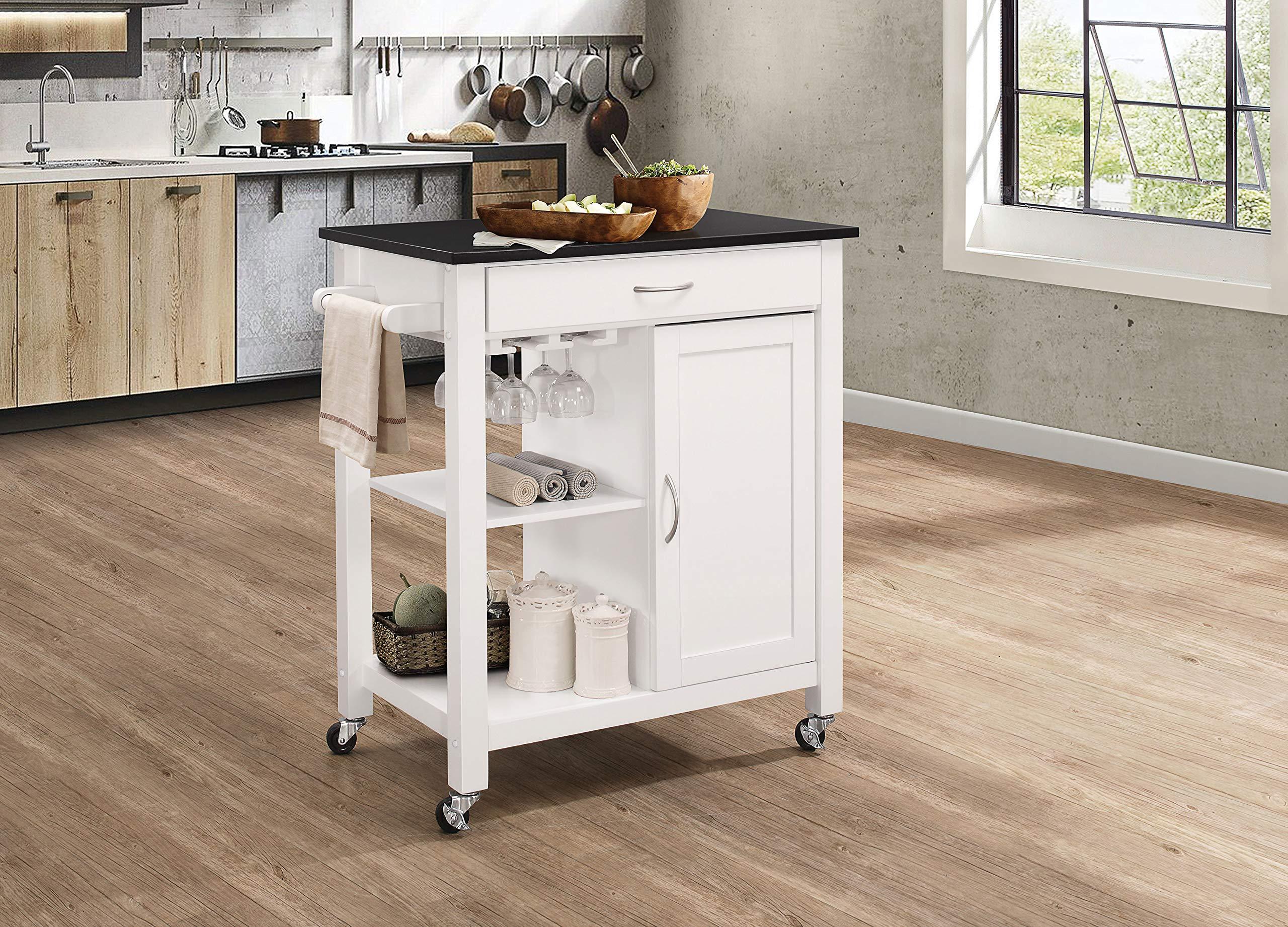 Acme Furniture 98320 Ottawa Kitchen Cart, Black/White