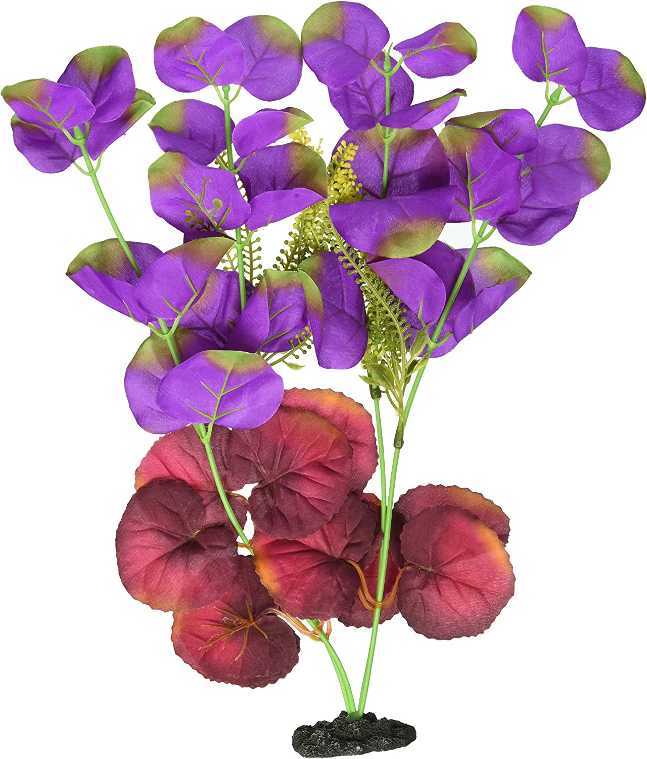 Marina Naturals, Indigo/Red Moneywort Silk Plant, Large Fish Tank Decoration, PP124