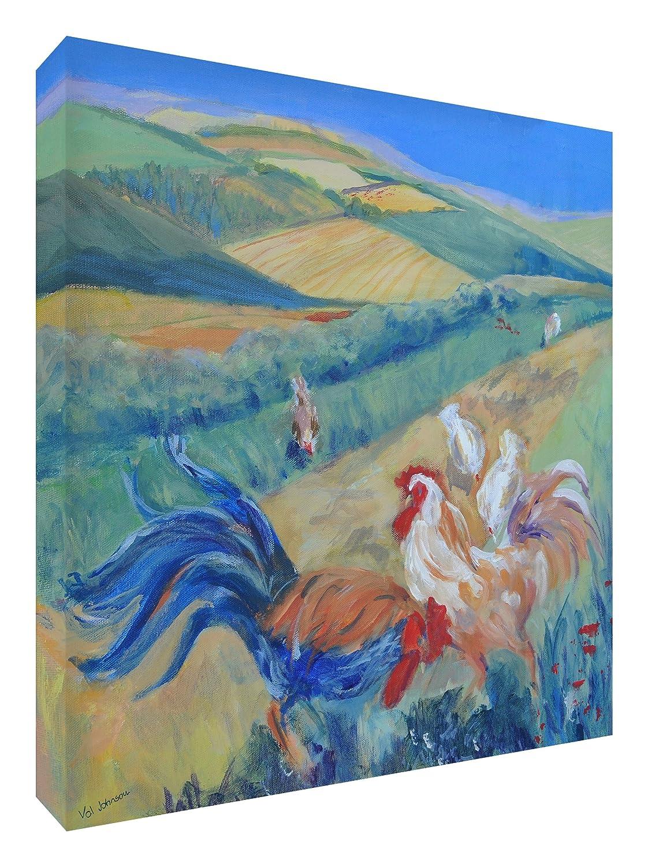 Feel Good Art Leinwand leuchtenden Farben Abstrakt gehören des Künstlers Val Johnson Hühner in einem Feld 96x 96x 4cm Größe XXL