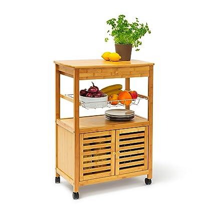 Isla carrito de cocina James con cajón, carrito de cocina de bambú ...