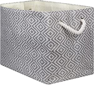 """DII Oversize Woven Paper Storage Basket or Bin, Collapsible & Convenient Home Organization Solution for Office, Bedroom, Closet, Toys, & Laundry(Large - 17x12x12""""), Gray & White Diamond Basketweave"""