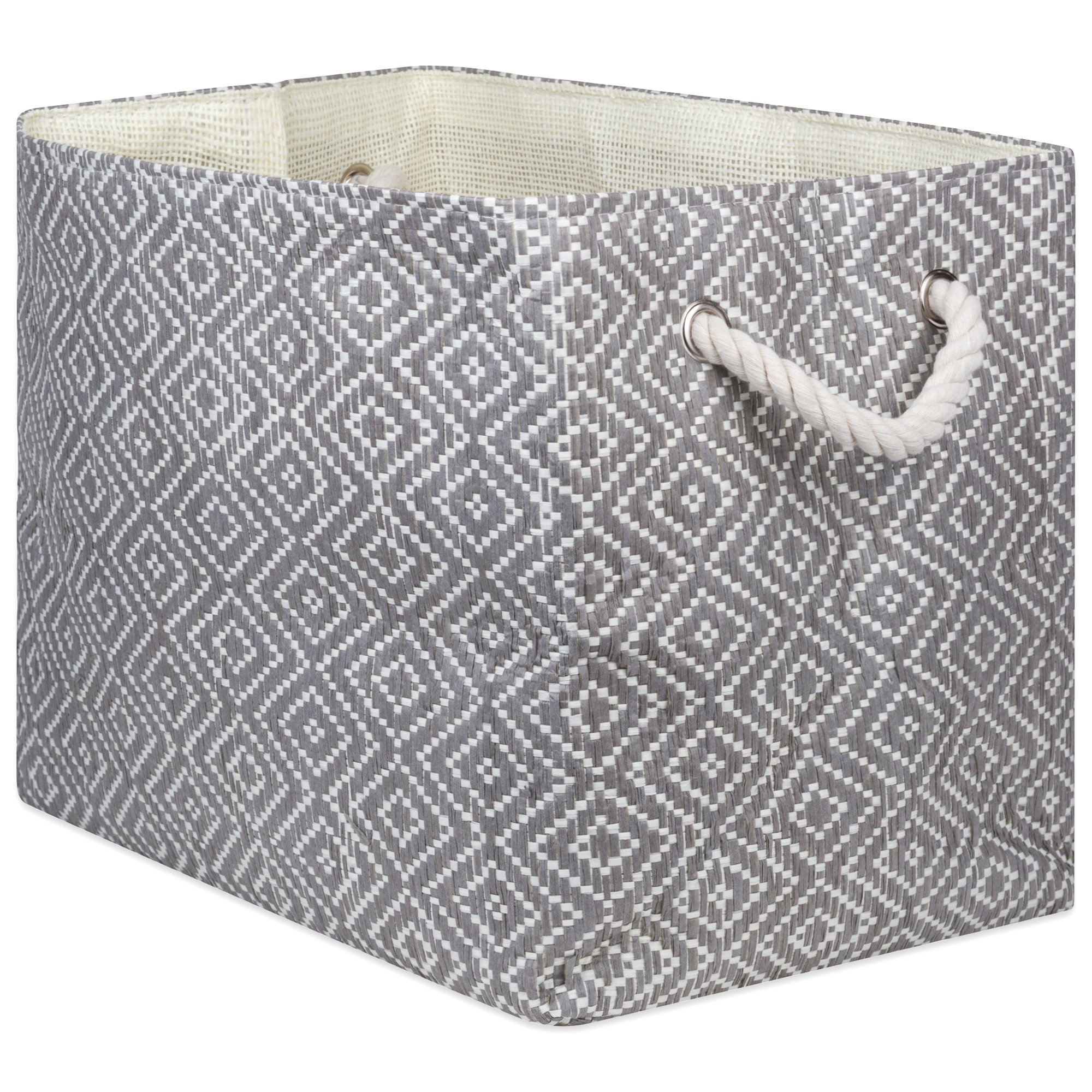 """DII Oversize Woven Paper Storage Basket or Bin, Collapsible & Convenient Home Organization Solution for Office, Bedroom, Closet, Toys, Laundry(Medium - 15x10x12""""), Gray & White Diamond Basketweave"""
