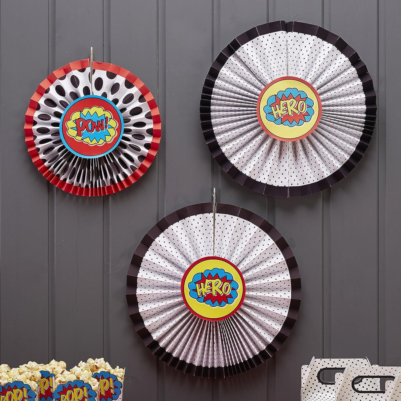 Paper Ginger Ray Superhero POW Party Hanging Pinwheel Decoration Bunting 3 Pack Fan Mixed