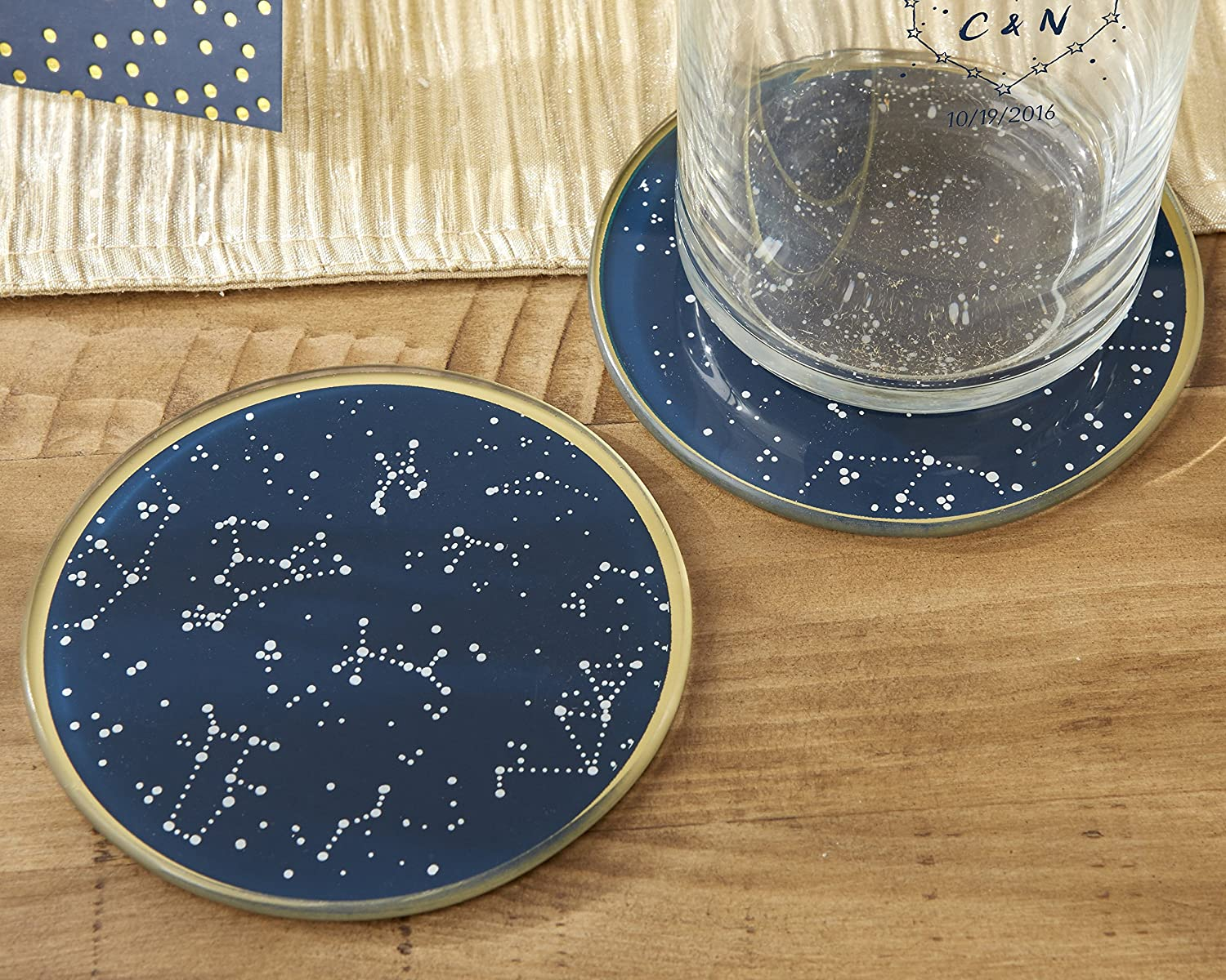 Amazon.com: Kate Aspen Under The Stars Glass Coasters, Navy/Gold/White:  Kitchen U0026 Dining