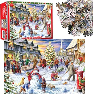1000 Piece Winter Holiday Jigsaw Puzzles for Adults Kids - Christmas Eve Family Decorations - Educational Intellectual Gift Fun Game DIY Home Decor
