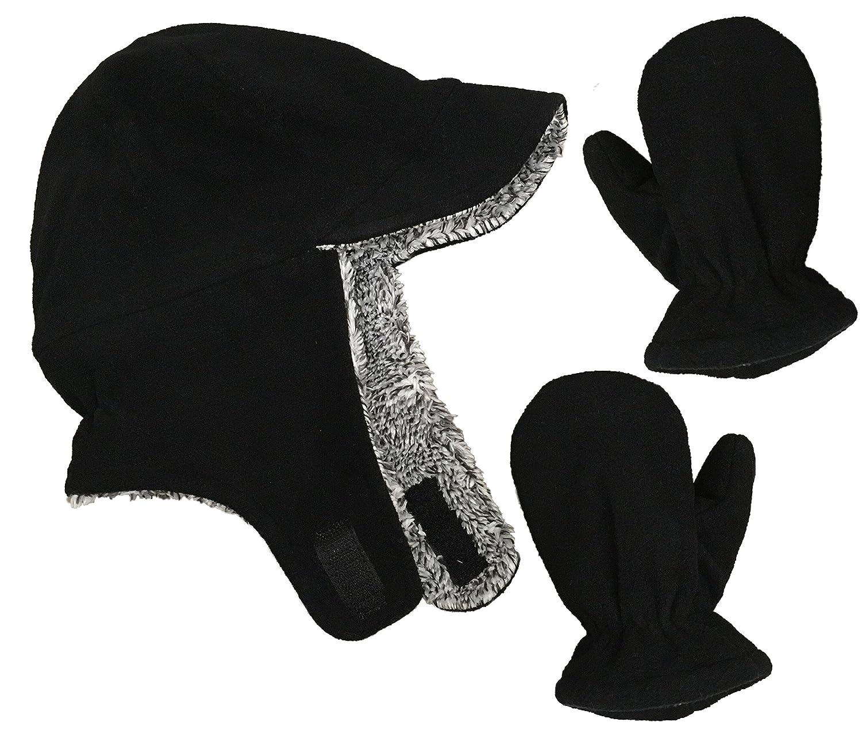 f63f6089f59 NIce Caps Little Boys and Baby Sherpa Lined Fleece Flap Hat Mitten Winter  Set N   Ice ...