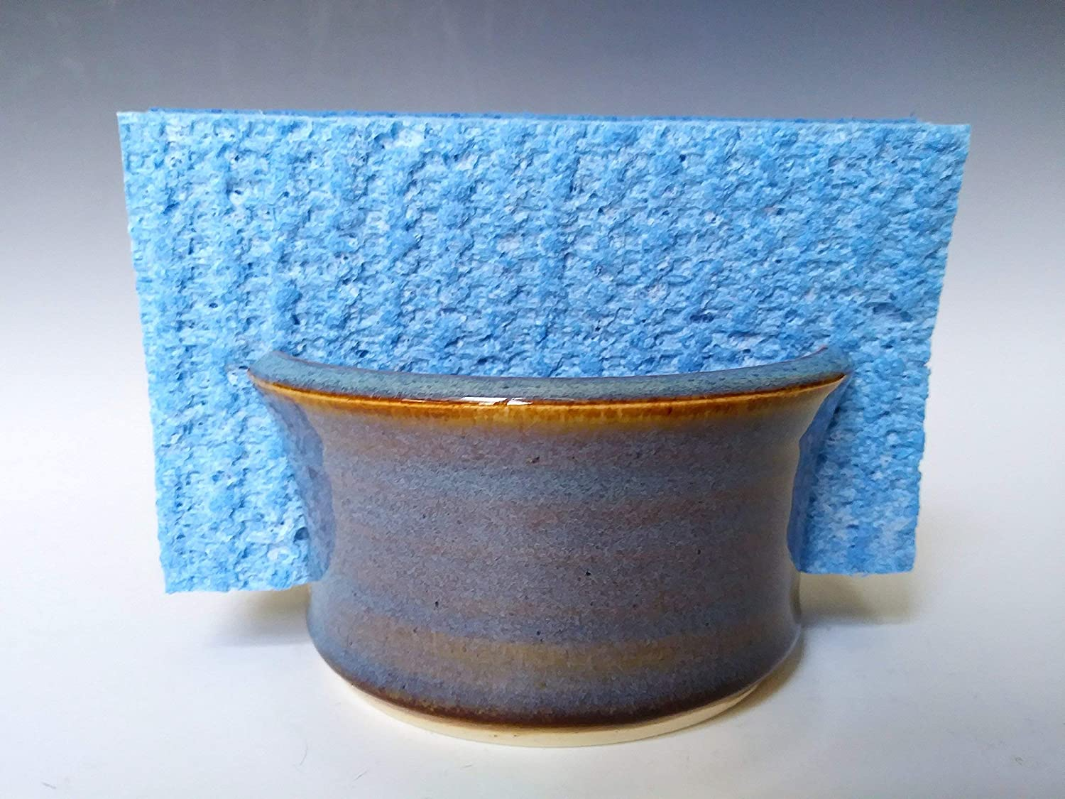 Sponge Holder/Sink Caddy ~ Ocean Blue Swirl ~ Handmade Stoneware Ceramic