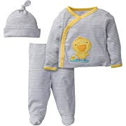 Gerber Baby 3 Piece Side Snap Mitten Cuff Shirt, Footed Pant & Cap, duck, Preemie