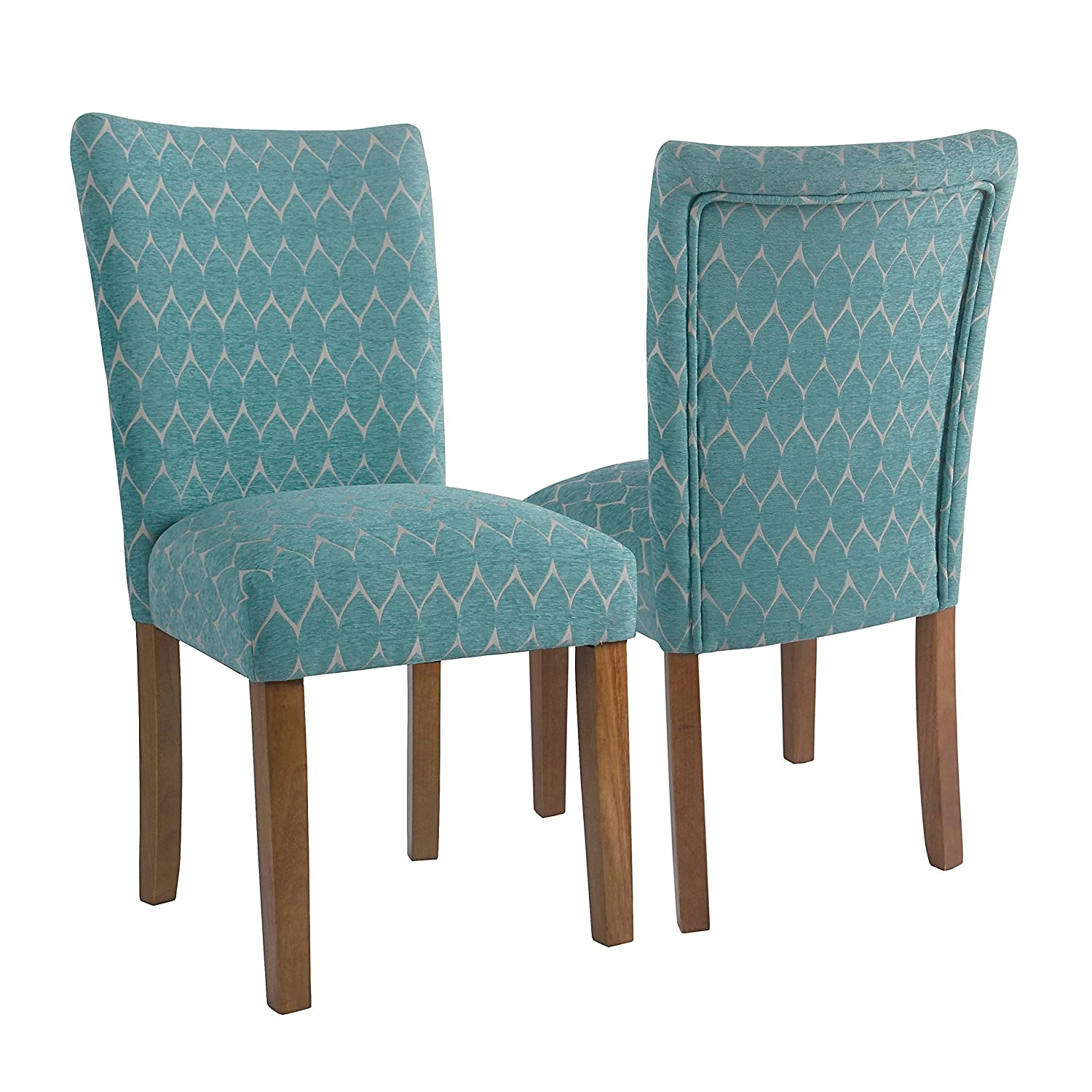 Amazon.com - HomePop Textured Parsons Chair - Set of 2 Teal Oak ...